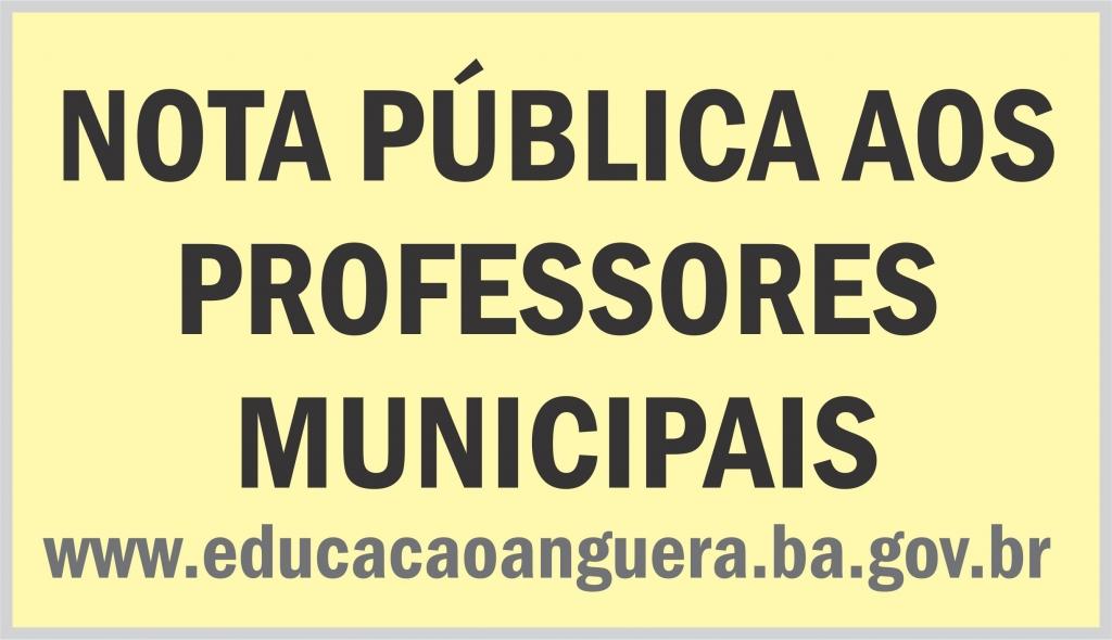 NOTA PÚBLICA AOS PROFESSORES MUNICIPAIS